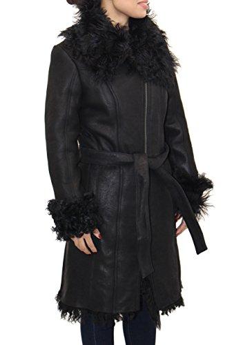 Mujer Con Invierno Grande Oveja Del Cuello Piel Negra Abrigo Cintur—n Cuero De Para zPfEW