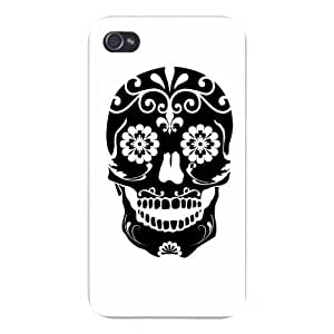 Apple Iphone Custom Case 4 4s Snap on - Black Skull w/ Flower Artwork Black & White