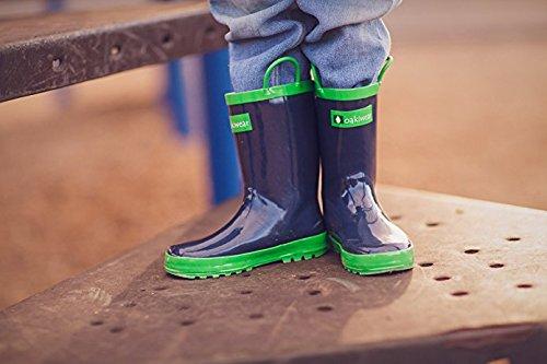 Oakiwear Children's Waterproof Rubber Rain Boots with Easy-On Handles, 12 Navy Blue by Oakiwear (Image #5)