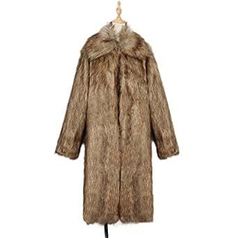 Women's Square Neck Elegant Warm Fluffy Shaggy Long Faux Fur Jacket Overcoat Raccoon Fur M(EU XS)
