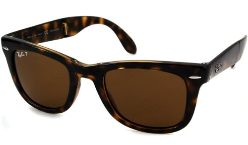Ray-Ban Folding Polarized Wayfarer Sunglasses, Light Havana, 50 - Ray Ban Original Clubmaster