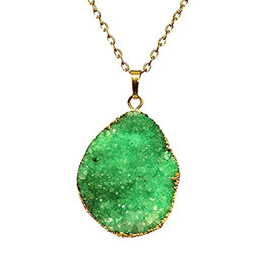 022 NY6Design Energy Green Drusy Agate Pendant Gold Plated Chain Long Necklace 30-32