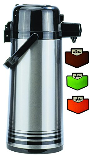Update International (NPD-25-BK/SF) 2.5 L Stainless Steel Button-Top Air Pot by Update International