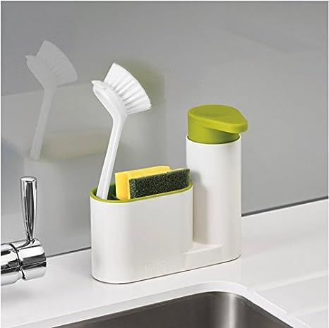 Star elemento encimera fregadero para cocina con dispensador de bombeo de jabón, soporte para esponja y cepillo soporte. Multifunción fregadero organizador ...