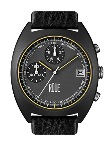 Roue CHR Chronograph Men's Watch, 1970s Racing Style, 41.5mm Sand Blasted Stainless Steel case, Silicone + Soft Leather Straps, Sapphire Crystal with Anti-Reflective Treatment Glass