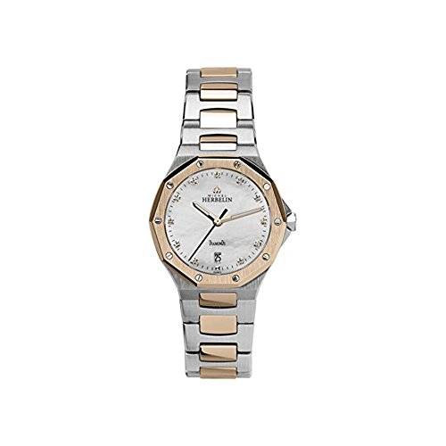 Michel Herbelin Women's 28mm Two Tone Steel Bracelet Steel Case Swiss Quartz MOP Dial Watch 14231/BTR89