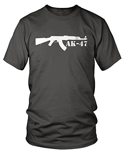 Amdesco Men's AK-47 Rifle, Assault Rifle T-Shirt, Charcoal Grey Medium