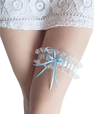 Czy accessories Women Lace Wedding Garters for Bride Stretch Prom Garter with Toss Away Blue