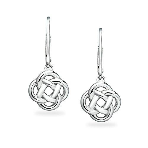 Sterling Silver Love Knot Dangle Leverback Earrings For Women