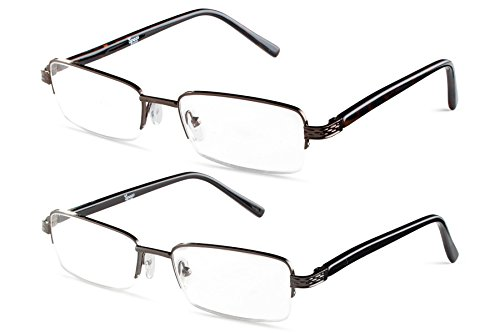 (Half Rimmed Rectangular Reading Glasses Gunmetal With Brown +1.00 Set )