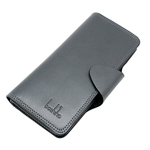 Credit Holder Boshiho Slim Rfid Credit Clutch Purse Wallet Leather Grey Wallet Bifold with Card Case Card Window Id HwHBEAq