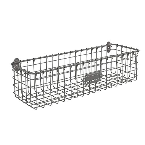 Spectrum Diversified Vintage Wall Mount Storage Basket, Pack of 1, Industrial Gray