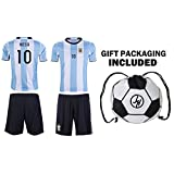 JerzeHero Argentina Messi #10 Kids Youth Soccer Gift Set ✓ Soccer Jersey ✓ Shorts ✓ Soccer Ball Drawstring Bag ✓ Home or Away ✓ Short Sleeve or Long Sleeve