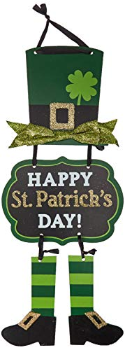 St Patrick Decorations (Amscan 241664 Party Decoration St. Patrick's Day Glittery Leprechaun Triple Sign, 1 Ct.   19
