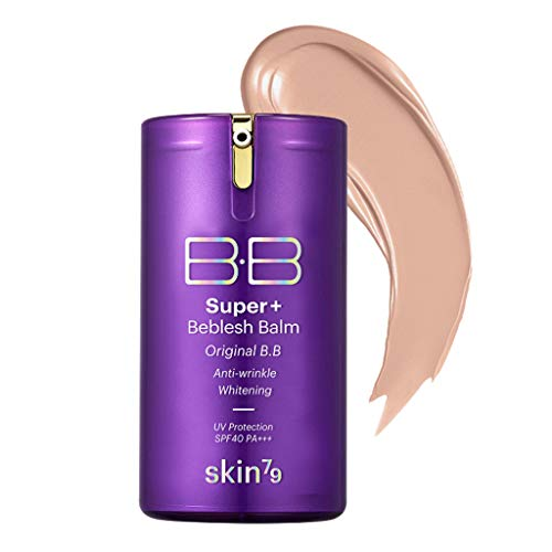 [SKIN79] Super Plus Beblesh Balm Triple Function Purple BB (SPF40/PA++) 1.35 fl.oz. (40g) - Water Glow Moisturizing BB, Natural Coverage Long Lasting Moisturizingb Makeup, Medium Sand Beige Color (Best Skin Whitening Bb Cream)