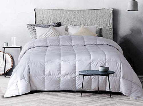 confibona Lightweight 100% Natural White Goose Down Comforter Blanket for Summer Warm Weather,King Size,750 Fill Power, Machine Washable,Super Soft Cotton Shell with No Sound,Light Gray