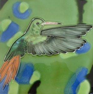 Hummingbird Humming Bird Ceramic Wall Art Tile 6x6 ()