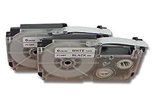 vhbw 2 x Casete de cinta cartucho 6mm para Casio KL-8200, KL-C500, KL-P1000 por Casio XR-6WE1, XR-6WE.