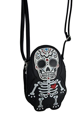 Sleepyville Critters Day of the Dead Sugar Skeleton Cross Body Purse