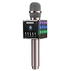 Karaoke Microphones Wireless, Domezan Bluetooth Speakers Mic with 3200mAh Samsung Battery and LED Lights, for Apple iPhone Android Smartphone PC Smart TV Home KTV by DOMEZAN