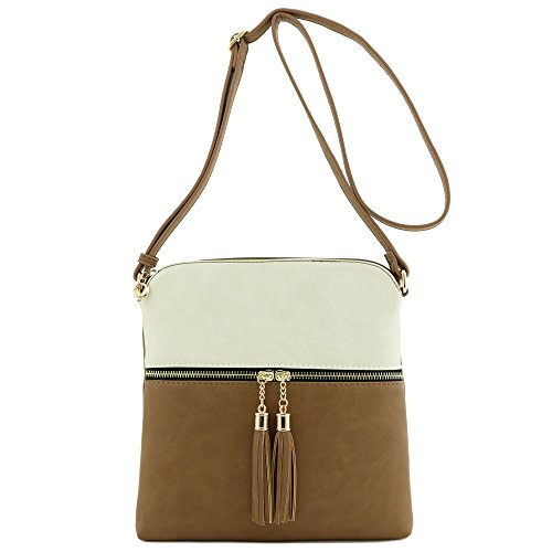Beige Pocket Stone Tassel Bag Crossbody Zip Iw1UUzZWBq