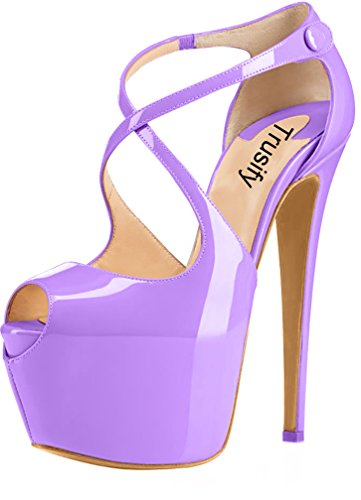 Trusify Mujer 16cm EU tamaño 34-46 Trucrack Tacón de aguja 16CM Sintético Sandalias de vestir Morado