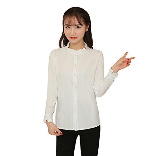 Fedi Apparel Teens Girls Cute Pleated Stand Collar Blouse Elegant Slim Shirt Top
