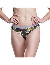 JERECY Women Underwear Bikini Sugar Skull Design 3D Printed Sexy Low Waist Panties Hipster Comfy Briefs S