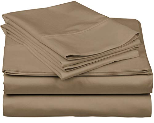 True Luxury 1000-Thread-Count 100% Egyptian Cotton Bed Sheets, 4-Pc Queen Taupe Sheet Set, Single Ply Long-Staple Yarns, Sateen Weave, Fits Mattress Upto 18'' Deep Pocket