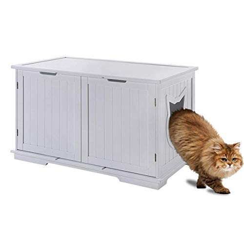 Sweet Barks Designer Cat Washroom Storage Bench Cat Litter Box Enclosure Furniture Box House with Table (White)