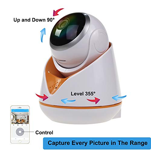 1080p Home Security Camera,EERIE Indoor 2.4G IP Security Surveillance with pan/tilt/Zoom Function,Two-Way Audio Night Vision for Camera iOS, Android App - Cloud Service Available (White/Orange)