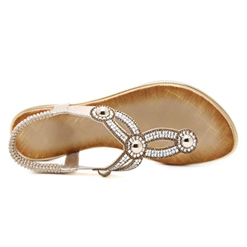 Ladies Summer Sweet Gold Black Silver Crystals Flat Casuals Women Sandals Gold 5Q04iRy