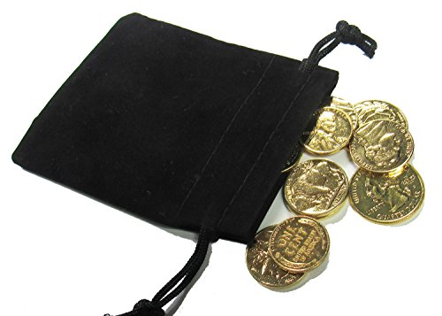 - 18K Gold Plated Cent, Nickel & Quarter Treasure Gift Bag (10 Coins)