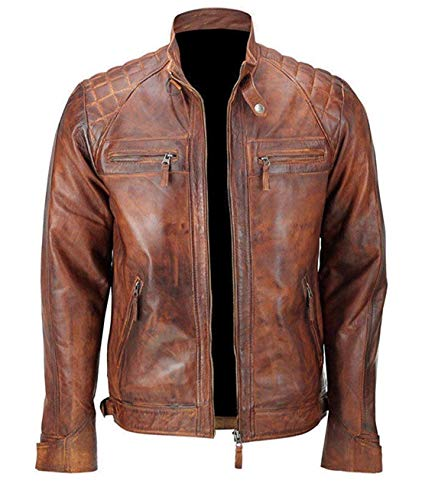 Mens Distressed Brown Classic Diamond Leather Jacket (M- fit for 41-42 inches Actual Chest) ()