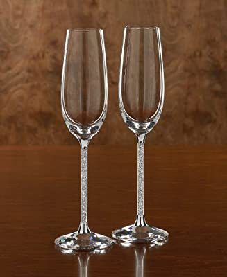 Amazon Com Swarovski Crystalline Toasting Flutes Set Of 2 Wedding