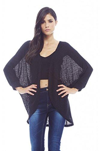 AX Paris Women's Fine Plainknitted Short Black Cardigan(Black, Size:S/M) by AxParis (Image #1)