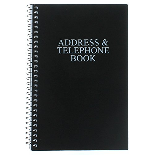 "Black Telephone Address Book Spiral Bound Vinyl Cover 8"" x 5"""