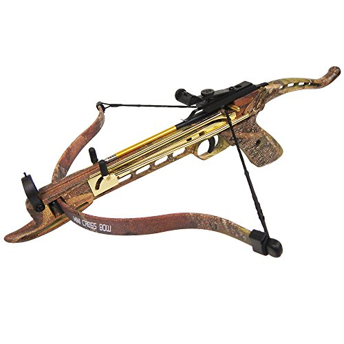 iGlow 80 lb Desert Camouflage Aluminum Self Cocking Hunting Pistol Crossbow Archery Bow +15 Bolts/Arrows +2 Strings 50 ()