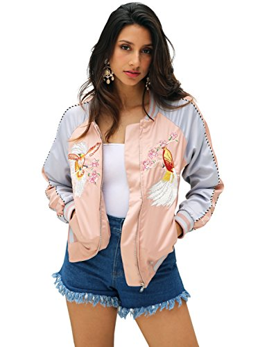 Silk Casual Jacket (Simplee Women's Casual Satin Embroidery Zipper Lightweight Bomber Basic Jacket Vintage)