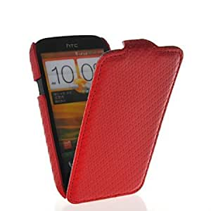 Bloutina MOONCASE Carbon Fiber Slim Fit Flip Leather Hard Shell Case Cover For HTC Desire V T328w Red
