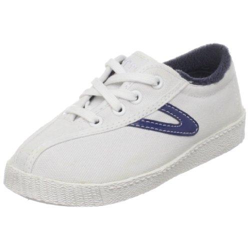 Tretorn Nylite Lace-Up Fashion Sneaker (Infant/Toddler),White/Estate Blue,4 M US Toddler