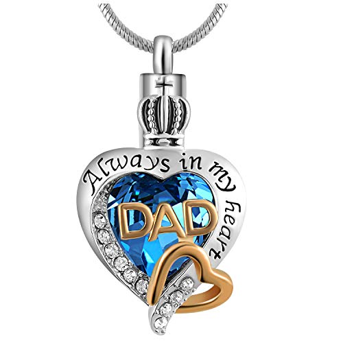 Eternaloved Womens and Girls Memorial Dad/Mom Glass Crystal Ash Urn Cremation Pendant,Always in My Heart Necklace (Dad)