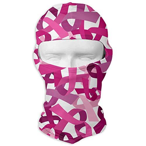 Queendesign Ribbon Breast Cancer Awareness Sunscreen Cycling Motorcycle Head Scarf Neck Warmer Face Mask Ski Balaclava Headband Tactical Balaclava Hood