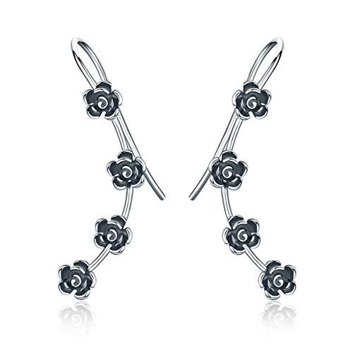 (BAMOER New Arrival 925 Sterling Silver Antique Black Daisy Flowers Crawler Earrings for Women Teen Girls Thanksgiving Christmas Day Gifts (Black Flowers))