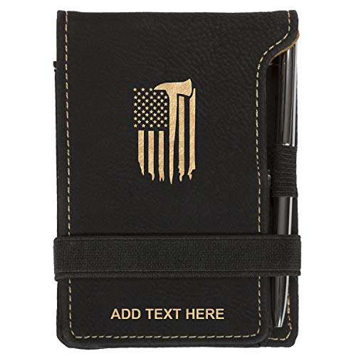 Personalized Firefighter Flag & Axe Mini Notepad Holder Set for Business Professionals - Pocket Memo Pad Book Cover - Includes Mini Note Pad and Pen to Jot Notes and Writing To Do List, Black & Gold