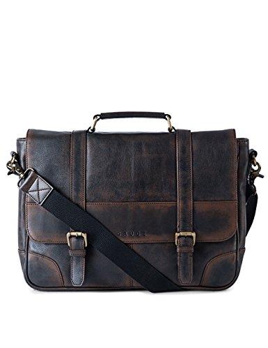 Gauge 15 Inch Washed Leather Laptop Messenger Bag Office Briefcase College Bag Satchel for Men (Black) by Gauge