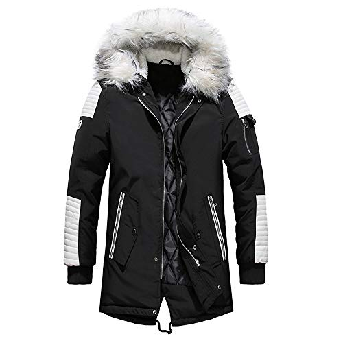 Clearance! Daoroka Men Winter Warm Long Jacket Thick Fur Hoodies Coat Long Sleeve Pockets Fashion Casual Cool Outwear Tops (Collar Fur Coat Notched)