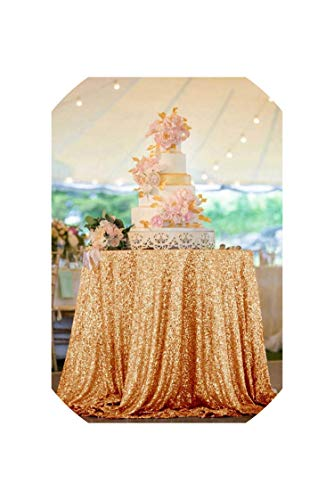See Something Round Pink Gold Sequin Table Cloth Table Cover for Wedding//Event/Party,Rose Gold Color,90 in Round- 225cm]()