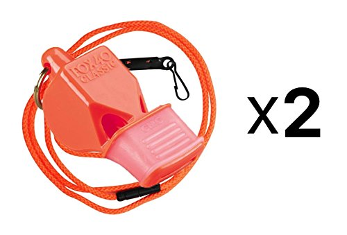 Fox 40 Classic Cushion Mouth Group Sports and Safety Loud Whistle with Lanyard, Orange (2 Pack)