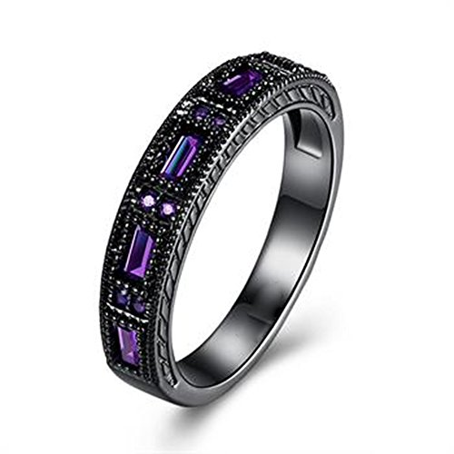 Punk Rock Retro Band (Women's Black Gun Plated Alloy 4PCS Square Purple Zircon Inlay Wedding Band Ring (alloy, 8))